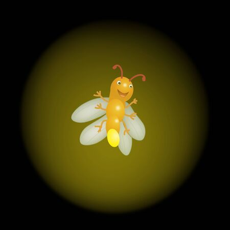 Cute Firefly Illustration Lithning in the Summer