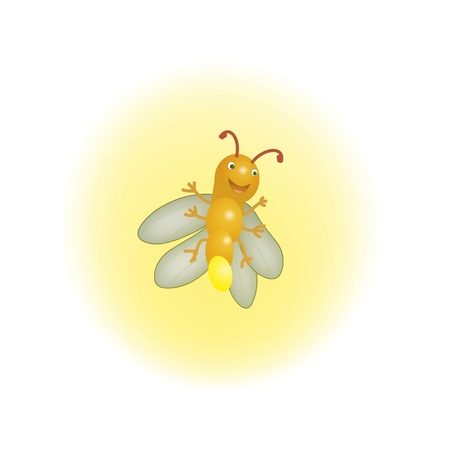 cartoon bug: Cute Firefly Illustration Lithning in the Summer