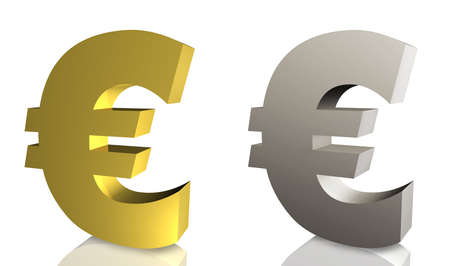 Euro Sign in Silver Isolated on White Background