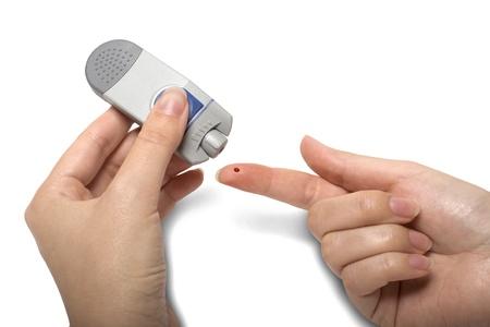 Essais de sucre dans le sang avec Glocumeter diabétique isolé Banque d'images - 8531093