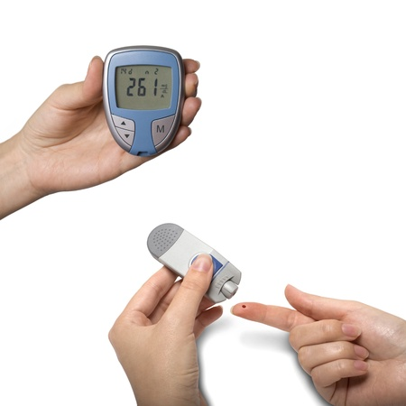 hypoglycemic: Testing Blood Sugar with Diabetic Glocumeter Isolated