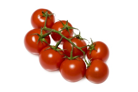 Bunch of Tomatoes Isolated on White Background photo