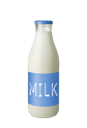 glass of milk: Fresh Milk Bottle Isolated on White Background