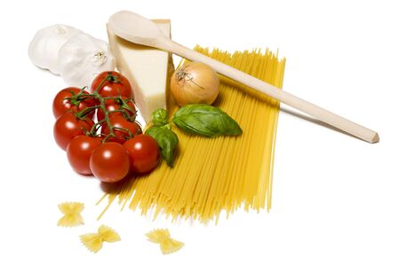 Spaghetti ingrediants with cheese isolated on white background