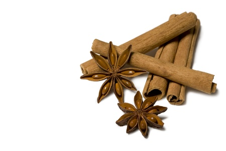 cinammon: Cinnamon and Anise Isolated on White Background