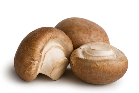 seta: Hortalizas frescas de hongos aislados sobre fondo blanco