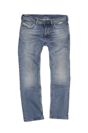 Vintage Stone Washed Boot Cut Jeans Isolated on White