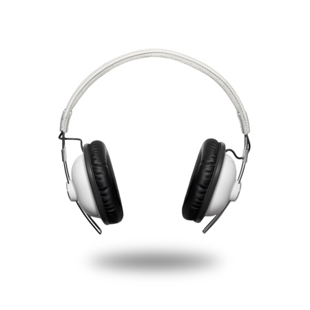 auriculares dj: Cl�sico cabeza Retro configurar tel�fono aislado en blanco Foto de archivo