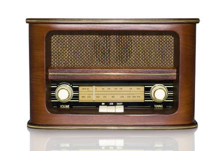 Funky Retro Radio with Mirror Effect Isolated on White