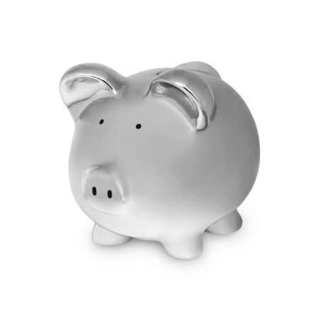 Piggy in Chrome Symbol for Financial Concepts Stock Photo