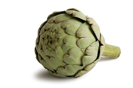 Raw and Fresh Artichoke Vegetables Isolated on White Stock Photo