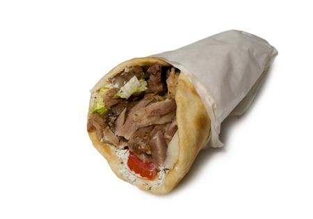 Gyros pita restauration rapide avec du pain isolé sur fond blanc Banque d'images - 19619235