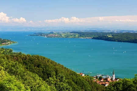 Lake Constance Bodensee lake with mountains background