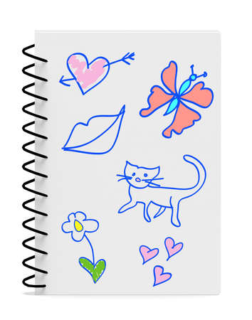 Children Kids Boy Notebook with Illustration Drawing Stock Photo