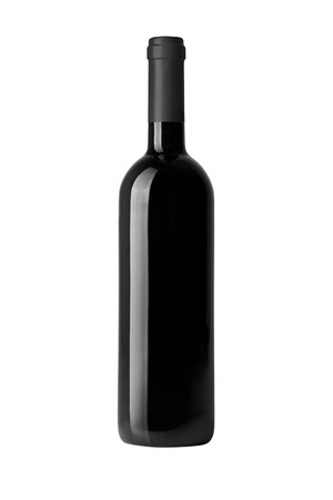 red wine bottle isolated on white Archivio Fotografico