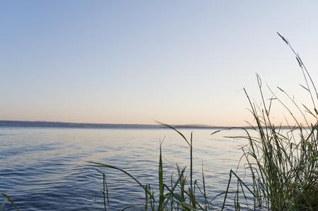 spiegelung: Abendd�mmerung am Bodensee bei Meersburg ### dusk at Lake Constance Stock Photo