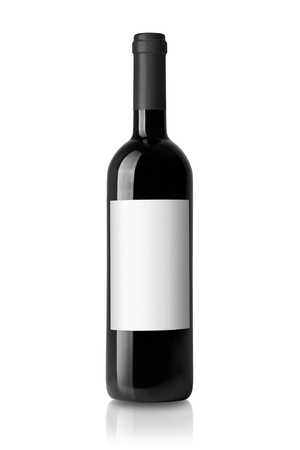 red wine bottle isolated on white Stock Photo