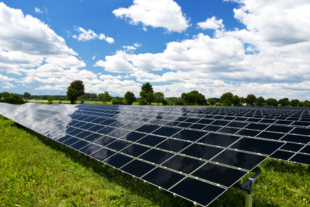 Solar Panel Energy Technology Background in Nature Stock Photo