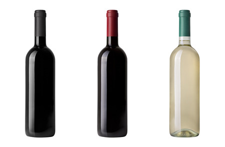 isoliert: red wine bottle isolated on white Stock Photo