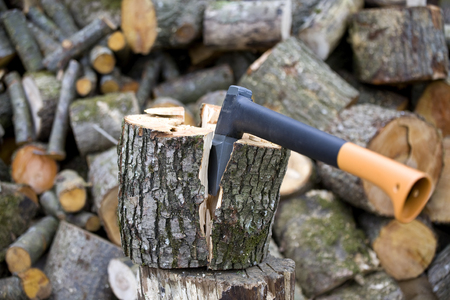 Timber Worker Lumberjack with modern Axe background