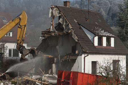 Demolition of an old house Stock Photo