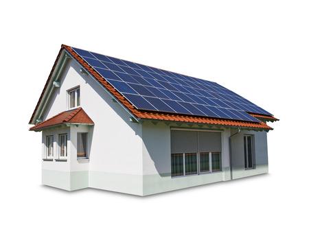 L'énergie solaire alternative ronde sur le toit Banque d'images - 45799162