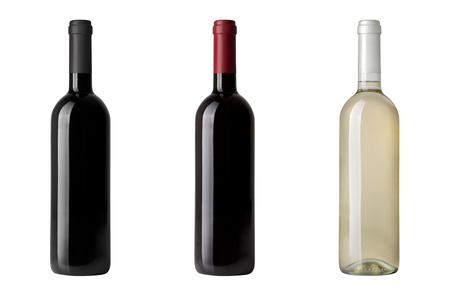 red wine bottle isolated on white 写真素材