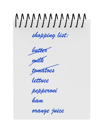 Shopping List Notebook Isolated on White Background