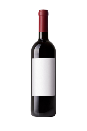 red wine bottle isolated on white Stockfoto