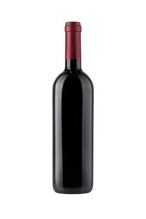 Rode wijn fles geïsoleerd op wit Stockfoto - 45894946