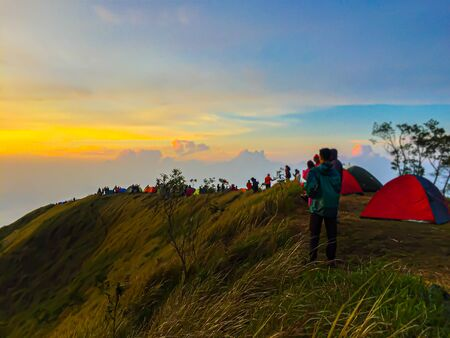 A moment in Kembang Mountain with my Friend at Dieng Indonesia52 Banco de Imagens