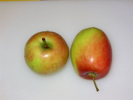 Green and red coloured apple fruits with stalks and water drops, isolated on light grey. (stock photo)