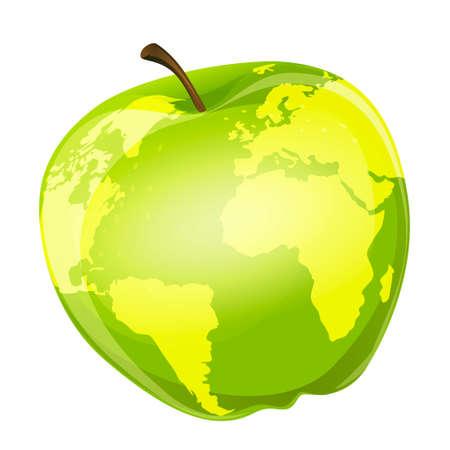 zeměpisný: Ilustrace jablko se zeměpisnými obrysy