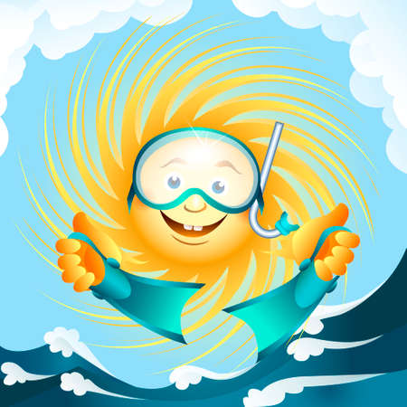 A illustration of sun in diving mask with flippers Stock Vector - 28650688