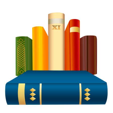 illustration of hardcover books