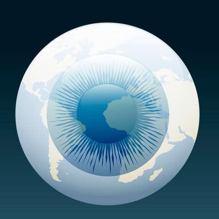 geographic: illustration of human eyeball with world geographic contours  Illustration