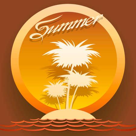 vintagel: illustration of tropical island in the sea against sunset  Illustration