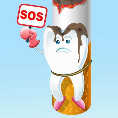 tar: illustration of sad tooth suffering on a cigarette Illustration