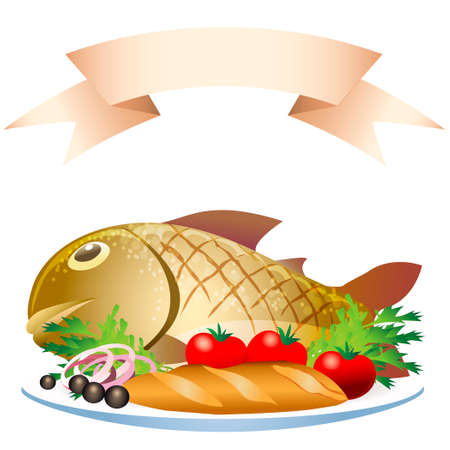 species plate: illustration of grill prepared fish with loaf and vegetables Illustration