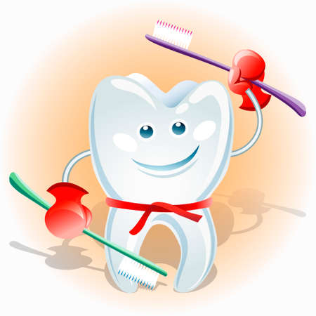 no teeth smile: illustration of healthy tooth in fighter belt with two tooth brushes