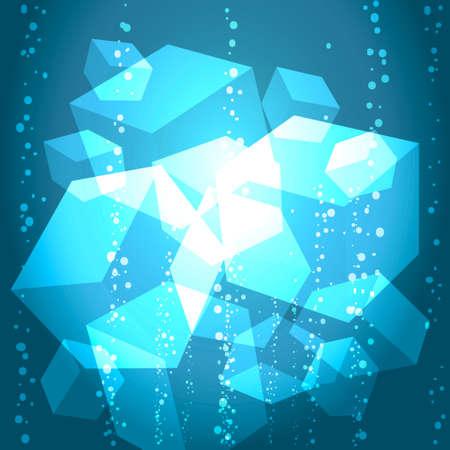 cubos de hielo: resumen de la ilustraci�n de los cubos de hielo en el agua con burbujas Vectores