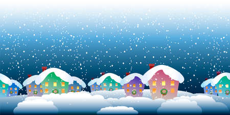 seamless horzontal pattern of christmas village in the evening Vector