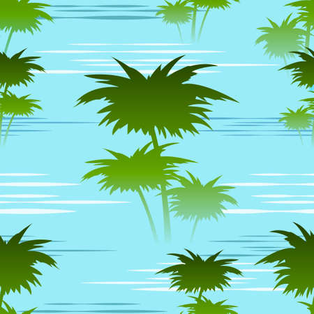 saturate: seamless colorful pattern with palm trees on a river shallows in the morning