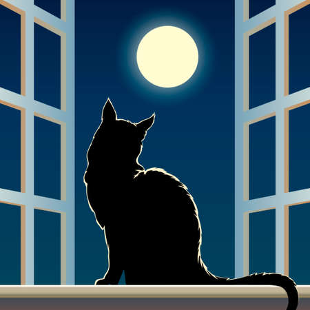 Vector illustration of black feline sits on a window sill against full moon in the midnight sky