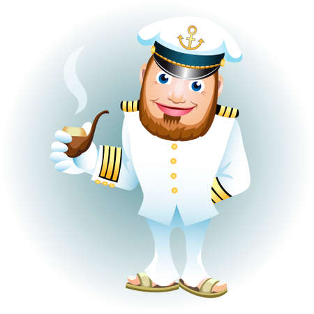 A vector illustration of man in captain uniform with smoking tube Иллюстрация