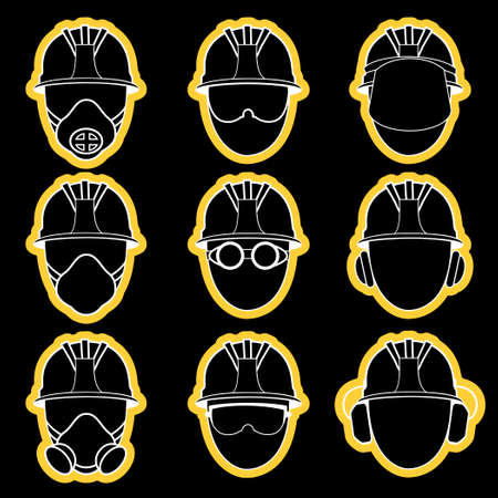 gas mask danger sign: Vector set of industry protective workwear icons