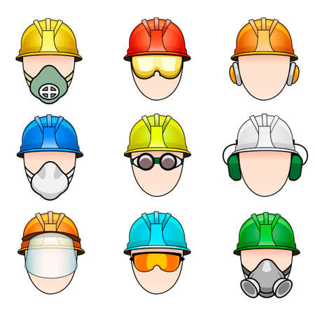 gas mask warning sign: Vector set of colorful human icon with various protective workwear