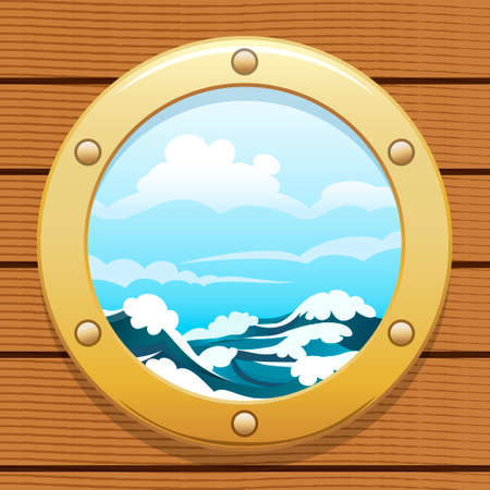 illuminator: A vector illustration of seascape from point of view from a ship window