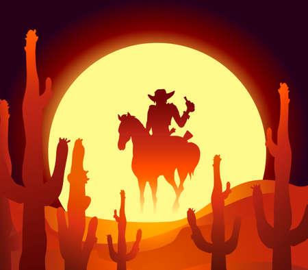 illustratie van de ruiter in Mexicaanse woestijn bij de zonsondergang uur