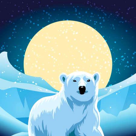 vector illustration of polar bear against ice desert